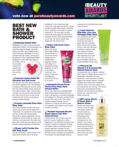 Pure beauty awards magazine shortlist best bath and shower product